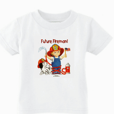 Infant baby toddler kids t-shirt Future Fireman boy dalmatian puppy dog doggy