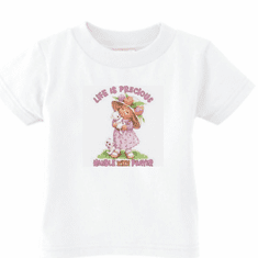 Infant Baby toddler kids t-shirt Life is Precious handle with prayer little girl kitten kitty cat