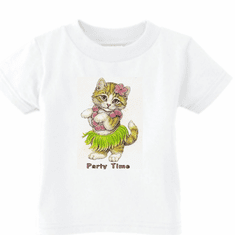 Infant baby toddler kids t-shirt Party time kitten kitty cat in a hula skirt