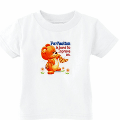 Infant baby toddler kids t-shirt Perfection is hard to improve teddy bear