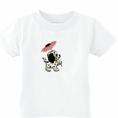 Infant baby toddler kids t-shirt puppy dog doggy dalmatian with flower
