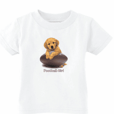 Infant baby toddler kids t-shirt puppy dog doggy Football girl