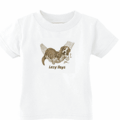 Infant baby toddler kids t-shirt puppy dog doggy in a hammock lazy days