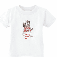 Infant baby toddler kids t-shirt puppy dog doggy with red ribbon