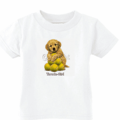 Infant baby toddler kids t-shirt Tennis girl puppy dog doggy