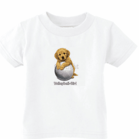 Infant baby toddler kids t-shirt Volleyball girl puppy dog doggy