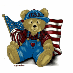 Infant baby toddler kids Teddy bear American flag Americana