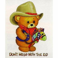 Infant baby toddler kids teddy bear cowboy stick horse Don't mess with the kid