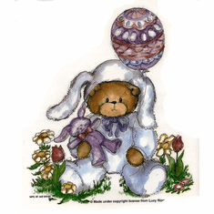 Infant baby toddler kids teddy bear dressed as Easter Bunny rabbit