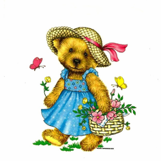 Infant baby toddler kids teddy bear in a sundress with flowers and butterflies