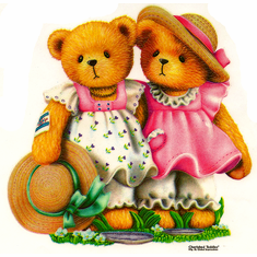 Infant baby toddler kids teddy bears in sun dresses and hats