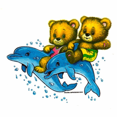 Infant baby toddler kids teddy bears riding dolphins