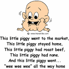 Infant baby toddler kids This little piggy market home roast beef none wee wee wee