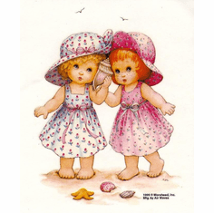 Infant baby toddler kids two 2 little girls on the beach sea shells