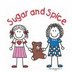 Infant baby toddler kids Two stick figure girls and teddy bear Sugar and spice