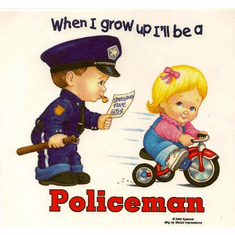 Infant baby toddler kids When I grow up I'll be a Policeman Little boy little girl on tricycle