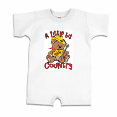 Infant baby toddler romper body suit one piece A Little bit country teddy bear