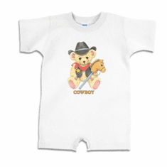 Infant baby toddler Romper body suit one piece Cowboy teddybear horse on a stick