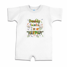 Infant baby toddler Romper body suit one piece Daddy thinks I'm a keeper fish