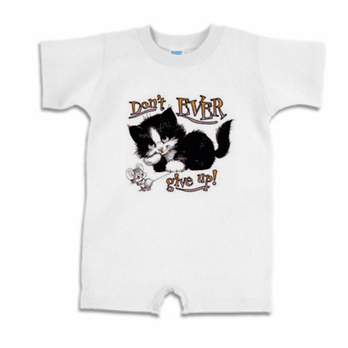 Infant baby toddler Romper body suit one piece Don't ever give up kitty cat kitten