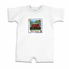 Infant baby toddler Romper body suit one piece Fire truck Firefighter fireman