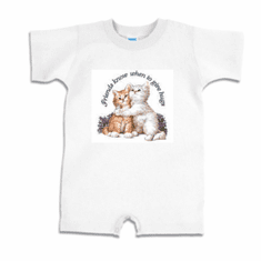 Infant baby toddler Romper body suit one piece Friends know when to give hugs kitten kitty cat