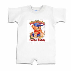 Infant baby toddler Romper body suit one piece Grandpa's Fishin' buddy teddy bear