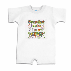 Infant baby toddler Romper body suit one piece Grandpa thinks I'm a keeper fish