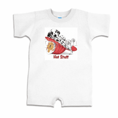 Infant baby toddler Romper body suit one piece Hot stuff dalmatian puppy dog doggy