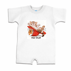 Infant baby toddler Romper body suit one piece Hot stuff kitten kitty cat future firefighter hat
