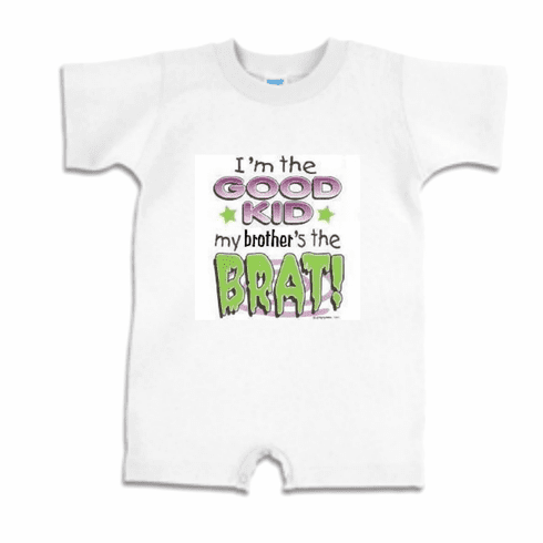 Infant baby toddler romper body suit one piece I'm the Good Kid My Brother's the BRAT