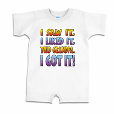Infant baby toddler romper body suit one piece I saw it I liked it told Grandpa I got it