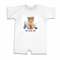 Infant baby toddler Romper body suit one piece kitten kitty cat bad hair days
