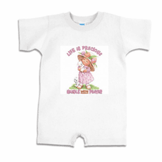 Infant Baby toddler romper body suit one piece Life is Precious handle with prayer little girl kitten kitty cat