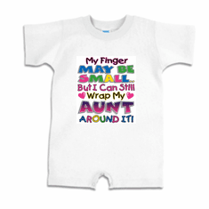 Infant baby toddler Romper body suit one piece My finger may be small but I can still wrap my Aunt around it