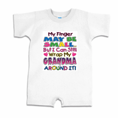Infant baby toddler Romper body suit one piece My finger may be small but I can still wrap my Grandma around it