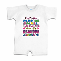 Infant baby toddler Romper body suit one piece My finger may be small but I can still wrap my Grandpa around it