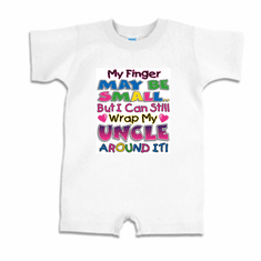 Infant baby toddler Romper body suit one piece My finger may be small but I can still wrap my Uncle around it