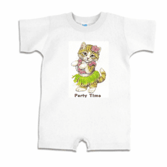 Infant baby toddler romper body suit one piece Party time kitten kitty cat in a hula skirt