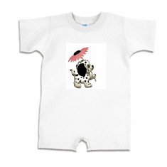Infant baby toddler Romper body suit one piece puppy dog doggy dalmatian with flower