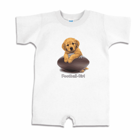 Infant baby toddler Romper body suit one piece puppy dog doggy Football girl