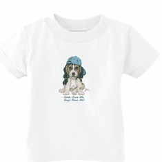 Infant baby toddler Romper body suit one piece puppy dog doggy in a ball cap Girls love me boys fear me