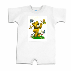 Infant baby toddler romper body suit one piece teddy bear bird and butterflies