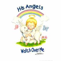 Infant baby toddlers kids His Angels watch over me Angel lamb rainbow butterflies