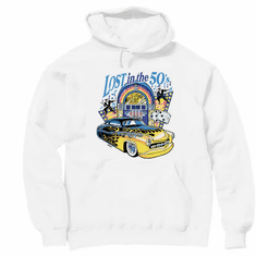 Lost in the 50's antique car hoodie hooded sweatshirt
