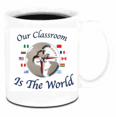 Northstar Academy 11oz coffee cup design 1A our classroom is the world