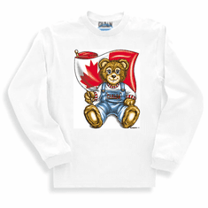 novelty Canadian patriotic long sleeve T-shirt sweatshirt Canada teddy bear