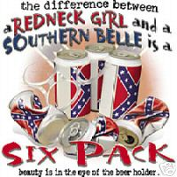 novelty dixie drinking shirt difference between redneck girl and southern belle is a six pack beer