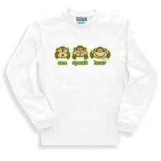 Novelty funny long sleeve T-shirt or sweatshirt monkey see speak hear no evil