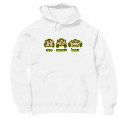 Novelty funny pullover hooded hoodie sweatshirt monkey see speak hear no evil
